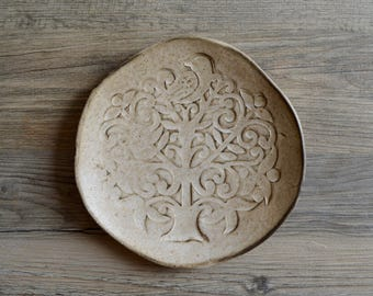 Ceramic Serving Plate,  Tree of Life , Coffee plate,  cappuccino Plate , Cheese plate, Tableware,  cheese platter cup cake  plate