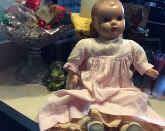 Look dear babydoll, Vintage Horseman Doll with outfit and shoes on, squeaker in doll not functioning