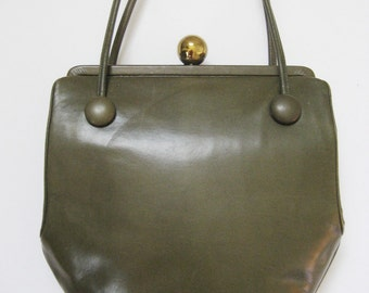 1950s Original by Holzman olive green leather handbag. Joseph Shoes label.