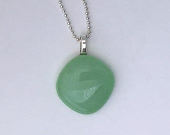 Mint Green Mini Fused Glass Pendant