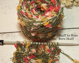 Intrigue Yarn, Soft Multi Strand Combo Yarn, White, Green, Gold, Orange, Bulky Hand Blended, YOMD, BIN 28