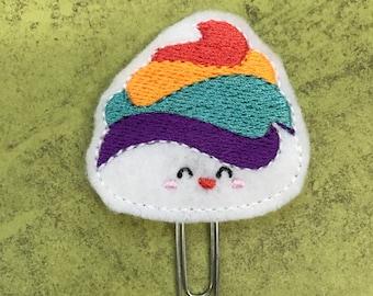 Rainbow Unicorn Poop Felt Planner Clip