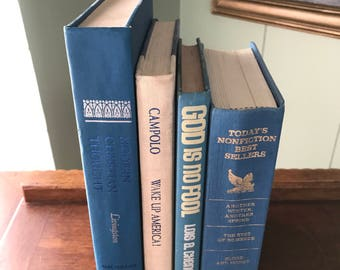 Book Bundle Stack Shades of Blue Jeans Blue Country Robins Egg Blue Vintage Books Photography Wedding props Home Staging Bookshelf Decor