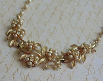 "Vintage Floral Pearl and Rhinestone Choker 16"" Wedding Prom Graduation"