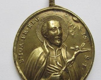 Saint Vincent DePaul Antique  Bronze Religious Medal Saint John Francis Regis Jesuit Pendant Circa 1700 SS545