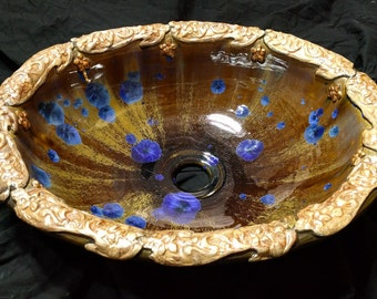 "READY to SHIP Handmade Oval Floral Stamped Rim Blue Gold Bronze Brown Crystalline Glazed Sink 16 1/2"" X 13 1/4"" Drop-in or Vessel Sink"