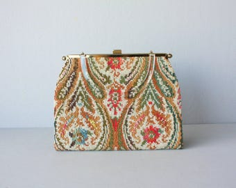 1950s Tapestry Handbag | 50s Purse | Lucite Handle Purse | Convertible Purse | 1950s Bag  | Needlepoint Bag