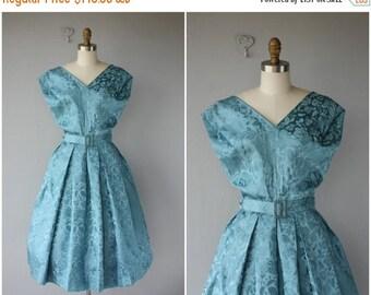 25% OFF FLASH SALE.. 1950s Cocktail Dress | 50s Party Dress | 50s Silk Brocade Dress | 1950s Dress | 50s Dress | Blue Floral Dress | 1950s P