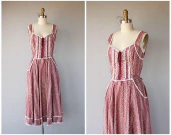 Vintage 1970s Gunne Sax Dress | Floral Dress | 70s Cotton Dress | 1970s Midi Dress | 70s Dress | 1970s Dress | Corset Dress (small/medium)