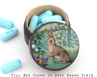 Easter Rabbit in the Garden Ring Box - Rabbit Vitamin Box - Rabbit Wood Ring Box - Rabbit theme Box - Hare Pill Box - Woodland Wedding