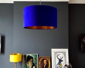 "Custom: ElsasPrints Electric Blue Silk Lampshade With Gold Lining 10"" x 8"" / 25cm x 20cm"