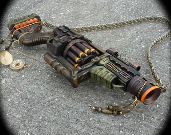 Steampunk gun + compass necklace  NERF Lawbringer  Doomlands Victorian scifi pistol  cyber soft darts ZOMBIE killer- Theater prop Toy