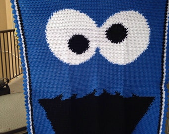 Cookie Guy Crocheted Blanket - Youth Size - Crib Blanket - Ready to Ship - 36 x 50 inches