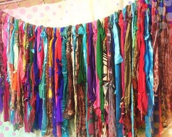 Gypsy soul- Wanderer- Boho rag curtain- bright colors, custom made to match your decor-