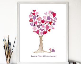 Pink purple Heart Tree art print, anniversary, valentine day art, birthday, mothers day, save the date, personalized, girls room decor