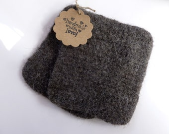 Wool scrubbing pads set of two felted wool scrubbies ready to ship