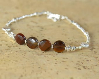 Brown Agate and sterling silver Bracelet, Brown Agate Bracelet, Brown Agate Bead Bracelet Women