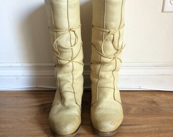 70s Sheepskin Winter Boots, Shearling, Pull On Leather Boots, Sheep Skin Boots, Warm Winter Boots, Shearling Boots Size 8 UK 5.5 EU 38.5 38