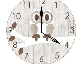 wooden owl clock, woodland nursery, kid's clocks, owl room decor, gender neutral, children's bathroom, baby shower gift