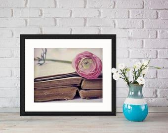 True Romance, Old Books, Rough edges, pink, ranunculus, Fine Art Photograph, 8x10