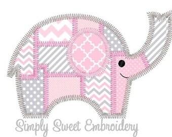 Patchwork Elephant Machine Embroidery Applique Design