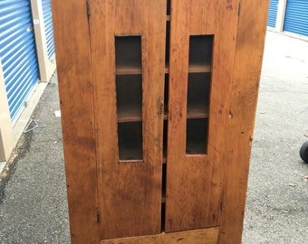 Antique Michigan Pine Pie Safe cabinet cupboard 4 board back 6 fixed shelves 14.75d42.5w75.5h Shipping is Not free