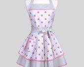 Ruffled Retro Apron , Spicy Garden Grey in Shades of Grey and Red Trimmed with Red Gingham Pinup Style Sexy Cute Kitchen Womans Apron