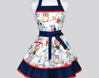 Ruffled Retro Womens Apron . Navy Blue and White Winking Owls Vintage Style Pin Up Flirty Kitchen Apron Ideal to Personalize or Monogram