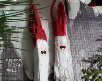 Set 2 Rustic Wood Tree Bark Santa Christmas Ornament / Hand Painted / Gift Tag / Package Tag / Red / OOAK / Ready to Ship