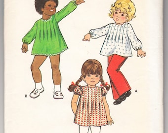 Vintage 1975 Butterick 6968 Sewing Pattern Toddlers' Girls' Dress, Tops and Pants Size 1