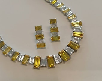 Vintage Yellow and White Crystal Necklace Choker