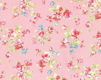 Antique Flower in Pastel Roses on Light Pink Cotton Fabric Lecien 31421-20
