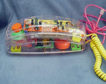 See Through Telephone Conair SW205 Vintage Transparent Clear Princess Phone Pink Orange Green Yellow Works Inside