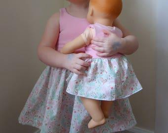 Matching Girl and Doll Dress Set, Soft Pink and Unicorns