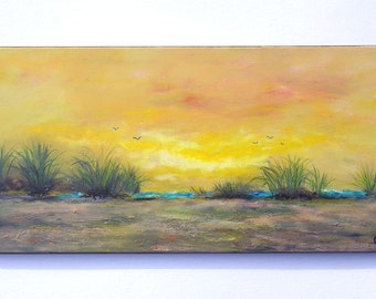 Sunset beach oil painting with texture, colorful sunset, sea grass, textured sand on a 12x24 horizontal canvas