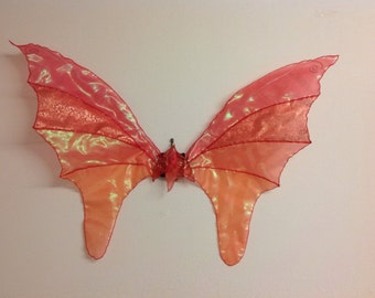 Real Fairy Wings,medium Red/Gold and Iridescent