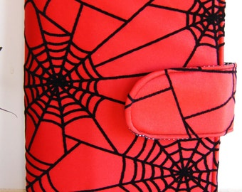 Spiders web  fabric  book cover    , handmade,Claudia Candeias, ready to ship