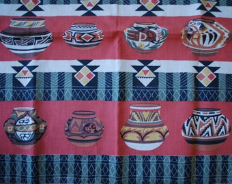 Bandana Scarf - South Western Pottery Design - Indian Pottery - 1980's - Arvale Rogers - Urban Cowboy