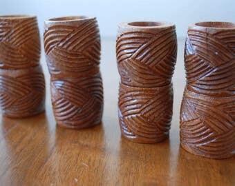 eight wood napkin rings - basket weave design - 1970's - retro -  boho