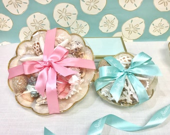 Seashells and Starfish on Capiz Shell Plates - 2 Sizes - beach decor coastal wedding sea shells shells ocean star fish hostess gift