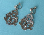 1950s Earrings Elegant Sterling Silver Mexican Jointed Dangle Drop Chandelier Style Cuernavaca Mexico Frida Kahlo