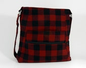 Dependable Small Crossbody Handbag - Red and Black Buffalo Plaid