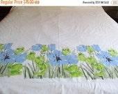 On Sale Vintage Vera Neumann Blue and Green Flowers Flat Sheet
