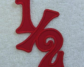 1/2 Birthday Fabric Embroidered Iron On Applique Patch Ready to Ship