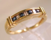 10k Blue Sapphire & Diamond Band Stacking Ring Signed FTH Size 7 Vintage Estate Jewelry Jewellery