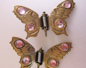 SALE ON Ends 4/30 Vintage Jeweled Butterfly Hair Clips Brass Bronze Pink Hair Accessories