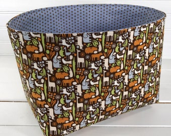 Storage Basket, Fabric Bin, Organizer, Diaper Holder, Nursery Decor, Animals, 2D Zoo, Blue, Brown, Tiger, Giraffe - Day at the Zoo