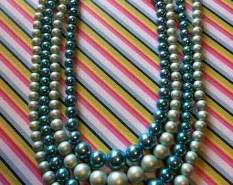Vintage 50s Timeless Elegant Four Strand Simulated Pearl Blue Bead Ladies Choker Necklace
