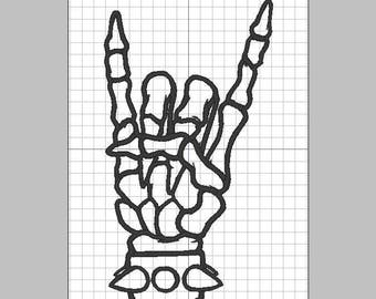 Rock and Roll Skeleton Hand Devil Horns- Embroidery design pattern 4x4 and 5x7 inches - INSTANT Download