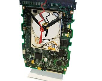 Apple iPod Hard Drive on a Circuit Board, now a Clock, all recycled. About Time! FREE SHIPPING USA!